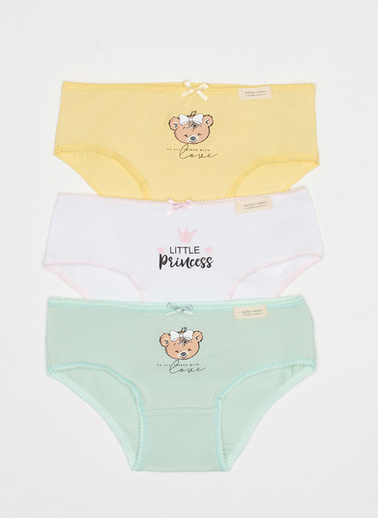 Katia & Bony Bear Kız Çocuk 3'Lü Slip Külot  Sarı